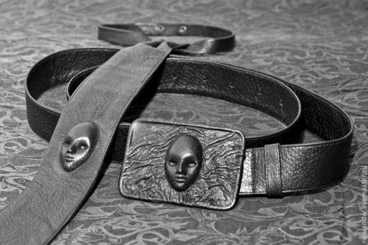 """Комплекты аксессуаров ручной работы. Ярмарка Мастеров - ручная работа. Купить 3D Комплект """"Ремень и галстук"""" из натуральной кожи. Handmade."""