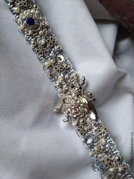 """Пояса, ремни ручной работы. Ярмарка Мастеров - ручная работа. Купить Пояс""""Silver Scarab"""". Handmade. Серебряный, пояс кожаный, карабин"""