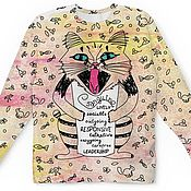 Одежда handmade. Livemaster - original item All over sweatshirt with tenperamental cats. Handmade.