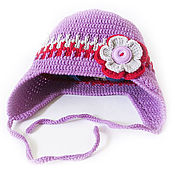 Работы для детей, handmade. Livemaster - original item Children`s hat for girls warm wool for autumn lilac. Handmade.