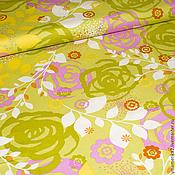 Материалы для творчества ручной работы. Ярмарка Мастеров - ручная работа Американский хлопок  РОЗОВЫЙ САД лилово- зеленый. Handmade.