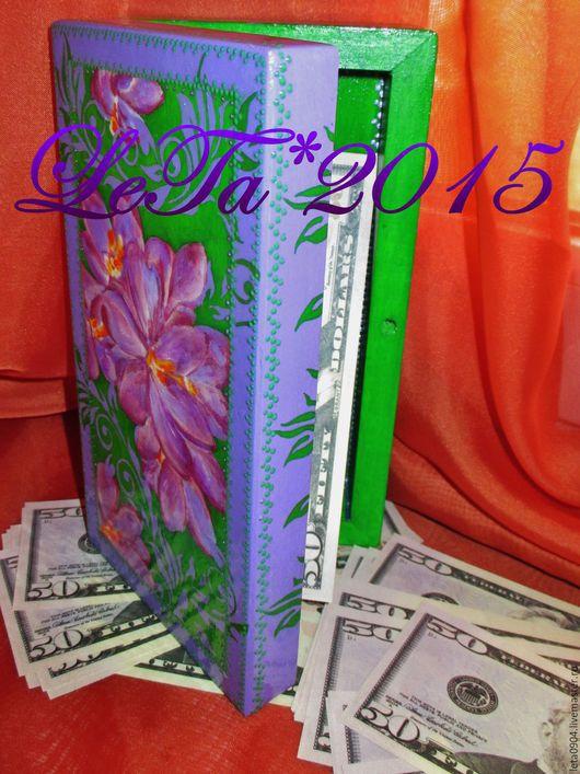 """Шкатулки ручной работы. Ярмарка Мастеров - ручная работа. Купить Купюрница-шкатулка """"Сказка"""". Handmade. Ярко-зелёный, роспись, дерево"""