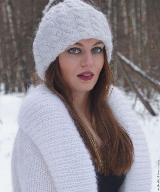 Шапки ручной работы. Ярмарка Мастеров - ручная работа. Купить Объемная белая шапка с косами. Handmade. Белый, шапка зимняя
