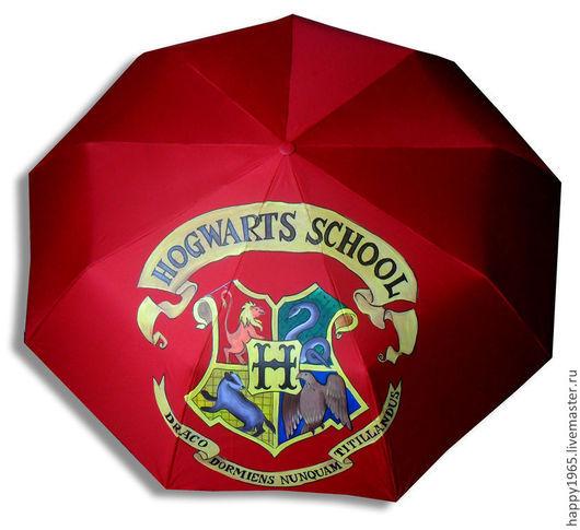 """Зонты ручной работы. Ярмарка Мастеров - ручная работа. Купить Зонт ручной росписи """"Хогвардс"""". Handmade. Бордовый, хогвардс"""