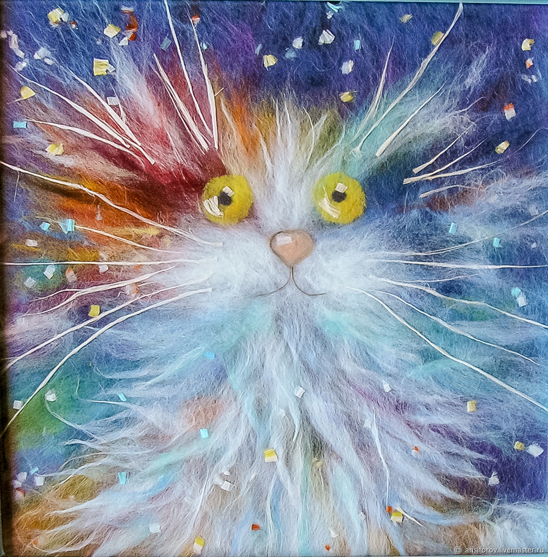 Картина из шерсти Радужный кот, Картины, Энгельс,  Фото №1