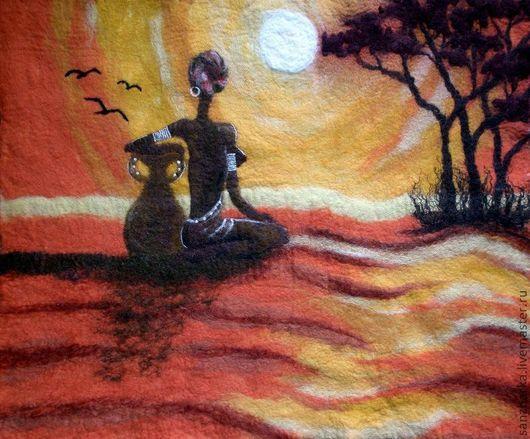 """Пейзаж ручной работы. Ярмарка Мастеров - ручная работа. Купить Картина из шерсти """"Закат"""". Handmade. Оранжевый, саванна, африка"""
