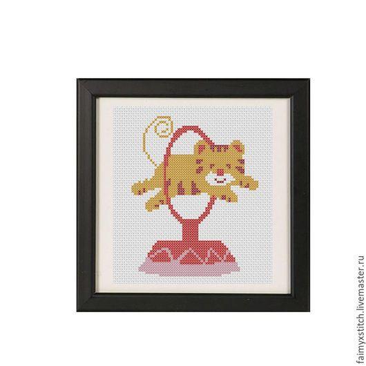 """Вышивка ручной работы. Ярмарка Мастеров - ручная работа. Купить Схема для вышивки крестом """"Тигренок в цирке"""". Handmade. Рыжий, тигренок"""