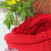 Аксессуары ручной работы. Ярмарка Мастеров - ручная работа Вязаный шарф хомут снуд накидка Красивый красный. Handmade.