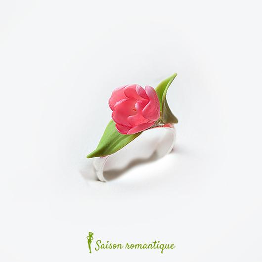 """Кольца ручной работы. Ярмарка Мастеров - ручная работа. Купить Кольцо """"Весеннее настроение"""" - тюльпаны. Handmade. Розовый, весенняя коллекция"""
