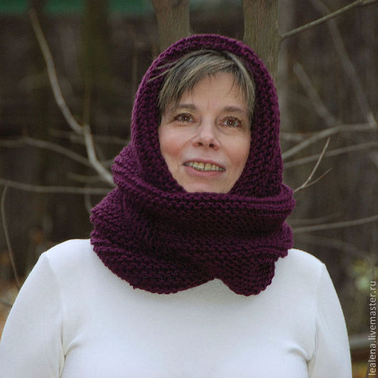 """Капюшоны ручной работы. Ярмарка Мастеров - ручная работа. Купить Снуд-шарф """"Ежевичка"""" (полушерсть). Handmade. Тёмно-фиолетовый"""