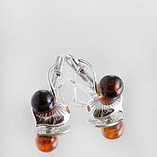"""Серьги классические ручной работы. Ярмарка Мастеров - ручная работа Серьги """"Кувшинка"""" из серебра и натурального янтаря. Handmade."""
