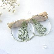 Украшения handmade. Livemaster - original item Transparent Earrings Real Leaf Yarrow. Handmade.