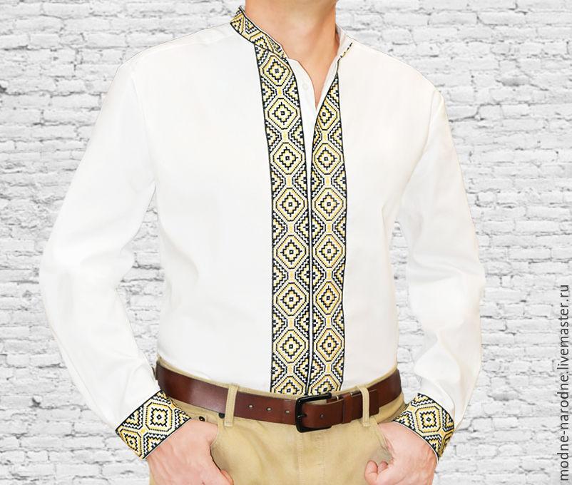 9f20c5631a1 Рубашка мужская с вышивкой Стильная рубашка Золотистый Мужской подарок  Вышиванка Мужские рубашки Сорочки мужские Белая рубашка ...