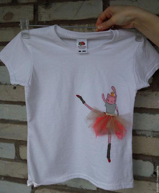 """Одежда для девочек, ручной работы. Ярмарка Мастеров - ручная работа. Купить Самый лучший подарок девочке футболка ручной работы """"Кошка Балерина"""". Handmade."""