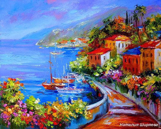 """Пейзаж ручной работы. Ярмарка Мастеров - ручная работа. Купить Картина с морем """"Пир Солнца"""" картина море маслом. Handmade."""