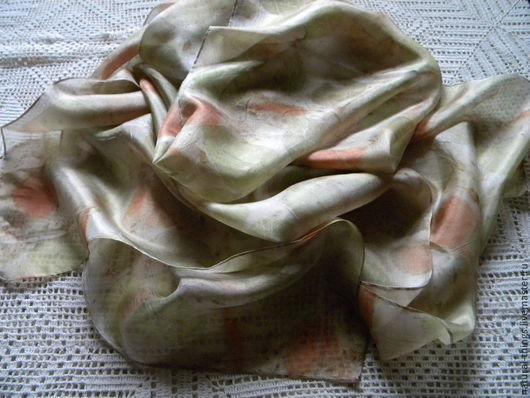 """Шарфы и шарфики ручной работы. Ярмарка Мастеров - ручная работа. Купить Шелковый шарф """"Осенний листопад"""" эко принт. Handmade."""