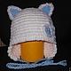 """Для новорожденных, ручной работы. Ярмарка Мастеров - ручная работа. Купить Шапочка """"Котик"""". Handmade. Белый, шапка детская, шапочка"""