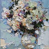 "Картины и панно handmade. Livemaster - original item ""Белые розы""`. Картина маслом. Handmade."