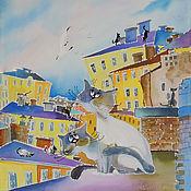 Картины и панно ручной работы. Ярмарка Мастеров - ручная работа Кошка Гагарина -картина на шелке с кошками. Handmade.