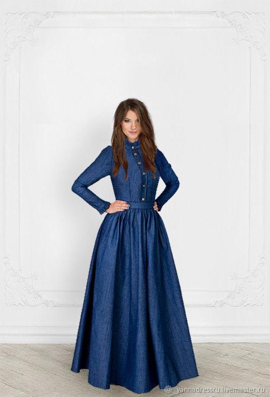 2f7a136b965 Ярмарка Мастеров - ручная работа. Купить Платье джинсовое в пол   Платья  ручной работы. Платье джинсовое в пол  Jeans Style - Be Queen!