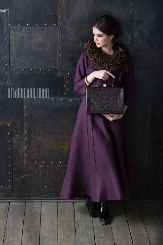 Платья ручной работы. Ярмарка Мастеров - ручная работа. Купить Валяное платье «Черничное». Handmade. Тёмно-фиолетовый, нежность, шерсть