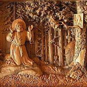 Картины и панно ручной работы. Ярмарка Мастеров - ручная работа Серафим Саровский в лесу - картина из дерева. Handmade.