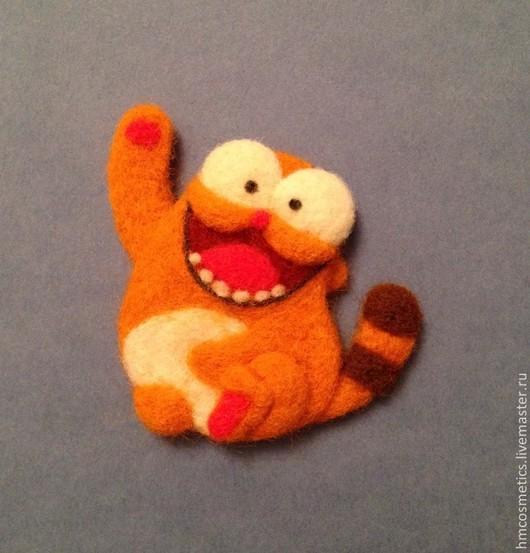 Игрушки животные, ручной работы. Ярмарка Мастеров - ручная работа. Купить Брошка - котик). Handmade. Рыжий, брошь, котик, оранжевый