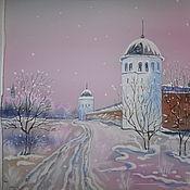 Картины и панно ручной работы. Ярмарка Мастеров - ручная работа Картина, пейзаж, акварель. Зимний Суздаль (зима, розовый, белый). Handmade.