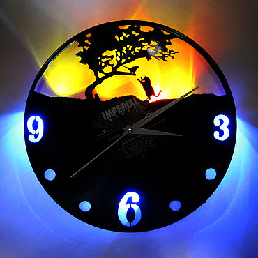 For home and interior handmade. Livemaster - original item Wall clock with LED light from the plate Kitten and Bird. Handmade.