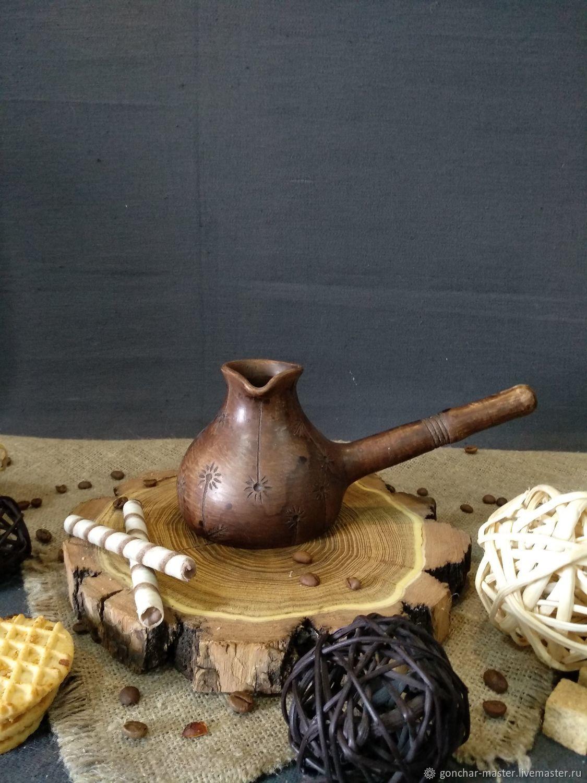 Керамическая турка для кофе по-восточному. Джезва глиняная, Чайники, Ставрополь, Фото №1