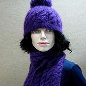 """Комплекты головных уборов ручной работы. Ярмарка Мастеров - ручная работа Комплект вязаный шапка и шарф """"Purple colour"""". Handmade."""