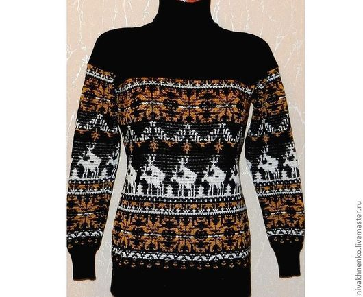 Кофты и свитера ручной работы. Ярмарка Мастеров - ручная работа. Купить Вязаный свитер с норвежским орнаментом(черно-золотистый). Handmade. Черный