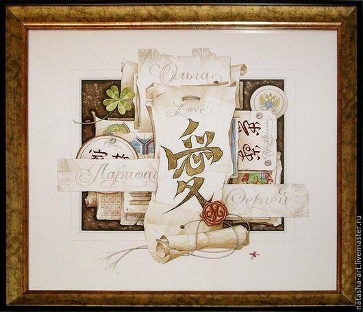 Символизм ручной работы. Ярмарка Мастеров - ручная работа. Купить Коллаж-обманка для семьи. Handmade. Белый, каллиграфия, коллаж