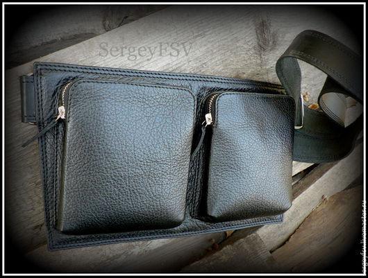 Мужские сумки ручной работы. Ярмарка Мастеров - ручная работа. Купить Сумка из натуральной кожи. Handmade. Черный, сумка поясная