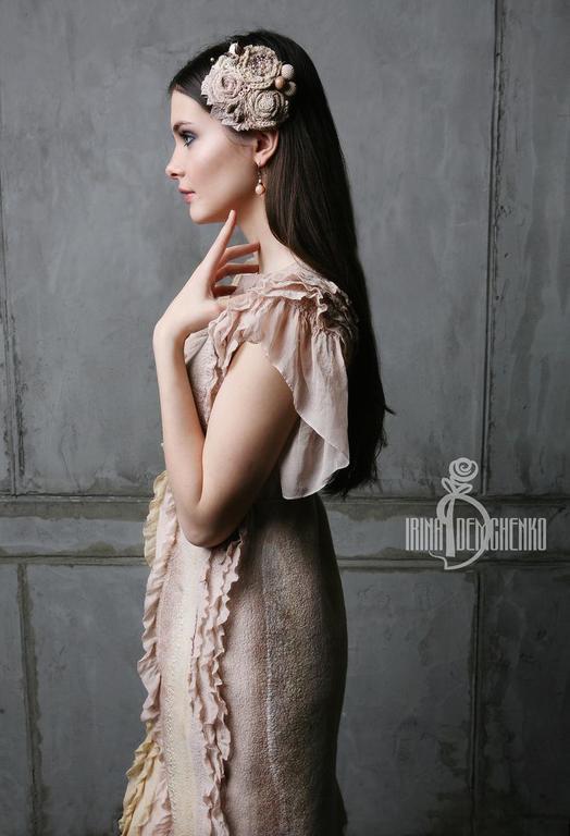 Платья ручной работы. Ярмарка Мастеров - ручная работа. Купить Валяное платье «Нежность утра». Handmade. Валяное платье, молоко