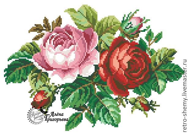 Английская роза вышивка схема