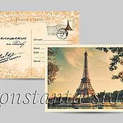 Приглашения ручной работы. Ярмарка Мастеров - ручная работа Ретро – приглашение открытка Париж. Handmade.