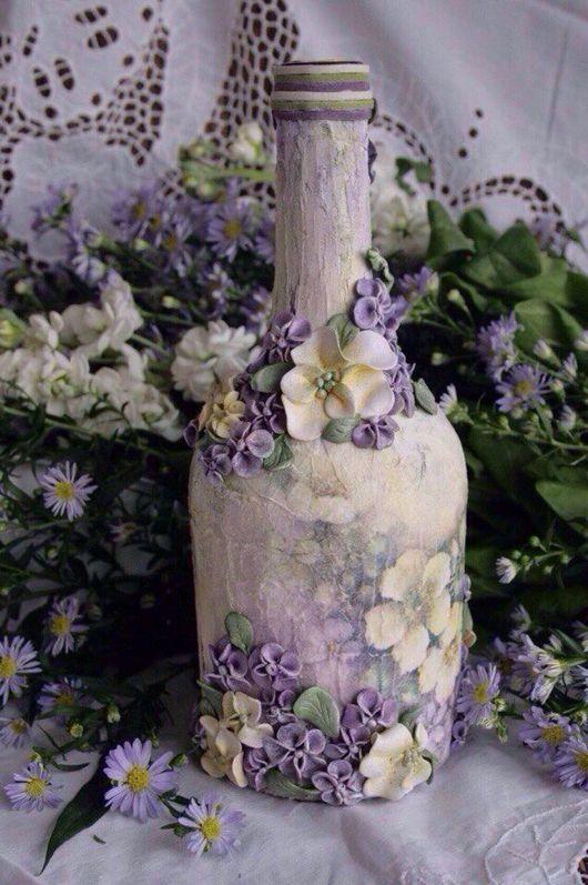 """Подарочное оформление бутылок ручной работы. Ярмарка Мастеров - ручная работа. Купить Бутылка """" Цветущий сад"""". Handmade. Бутылка"""