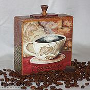 """Для дома и интерьера handmade. Livemaster - original item Короб для хранения """" Italian caffe"""". Handmade."""