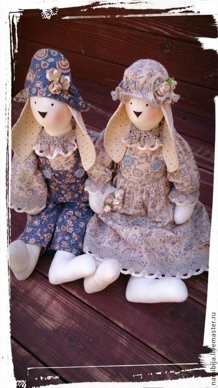 """Куклы Тильды ручной работы. Ярмарка Мастеров - ручная работа. Купить Зайки """" Лавандовые """" (40 см). Handmade."""