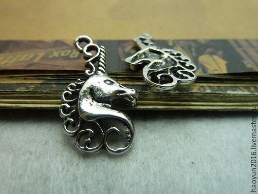 Для украшений ручной работы. Ярмарка Мастеров - ручная работа. Купить 20 шт металлические подвески старинное серебро единорог C5663. Handmade.