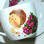 Посуда ручной работы. Ярмарка Мастеров - ручная работа Чайная пара с росписью Нежные гортензии. Handmade.