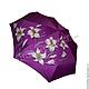 """Зонты ручной работы. Зонт бордовый с ручной росписью """"Лилии"""". BelkaStyle -РОСПИСЬ СТЕН,кеды,зонты. Ярмарка Мастеров."""