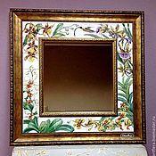 handmade. Livemaster - original item Mirror Painted pottery Orchid and kalibri. Handmade.