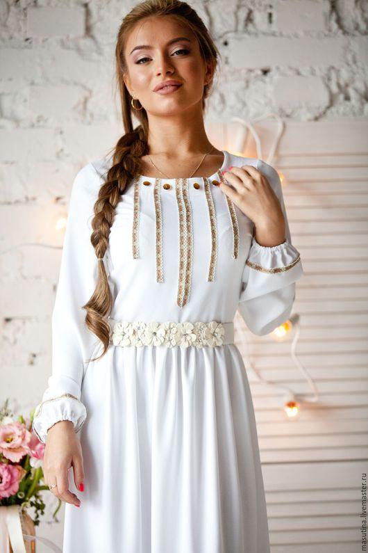 """Платья ручной работы. Ярмарка Мастеров - ручная работа. Купить Платье """"Светелка"""". Handmade. Белый, платье в церковь"""
