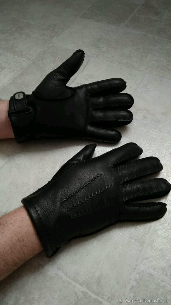 Перчатки из кожи оленя мужские, черные с наружным швом, Перчатки, Москва,  Фото №1