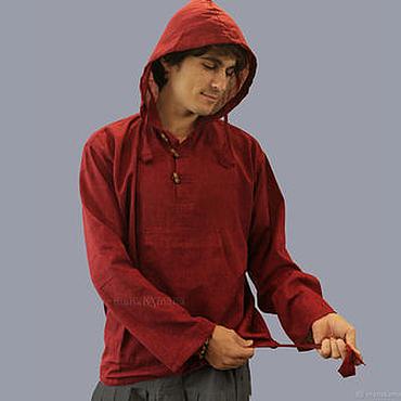 Одежда ручной работы. Ярмарка Мастеров - ручная работа Гранатовая Рубашка с капюшоном. Handmade.