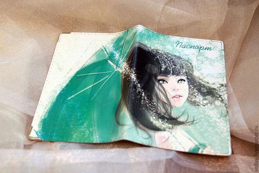 Обложки ручной работы. Ярмарка Мастеров - ручная работа. Купить Девушка с зонтиком. Handmade. Натуральная кожа, обложка, натуральная кожа