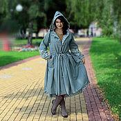 Шерстяное пальто в стиле бохо-шик (цвет серо-зеленый)