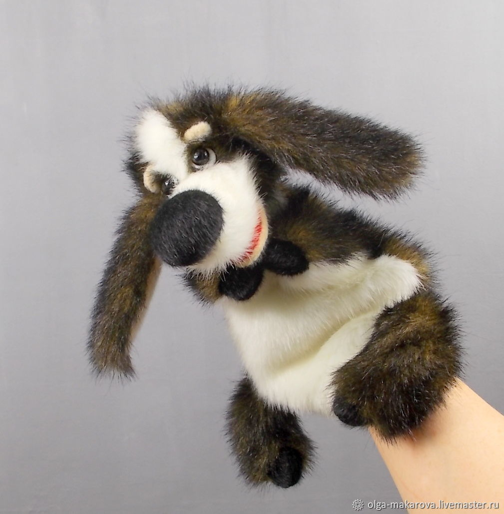Plush dog hand puppet. Hound puppet for children's home theater, Dolls, Odessa,  Фото №1